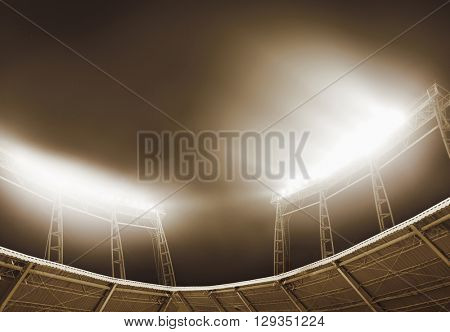 View of stadium lights at night