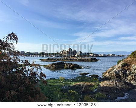 View of Victoria harbor in British Columbia Canada in summer