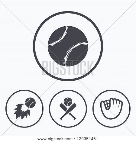 Baseball sport icons. Ball with glove and two crosswise bats signs. Fireball symbol. Icons in circles.