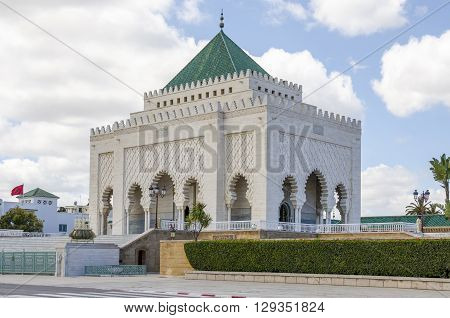 The Mausoleum of Mohammed V a historical building located on the opposite side of the Hassan Tower on the Yacoub al-Mansour esplanade in Rabat Morocco.