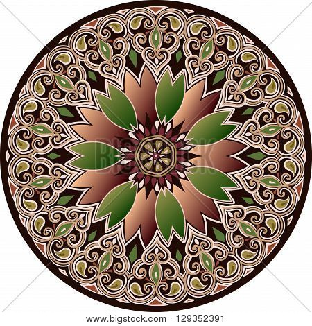 The ethnic mandala in maroon-brown-green color scheme with oriental design