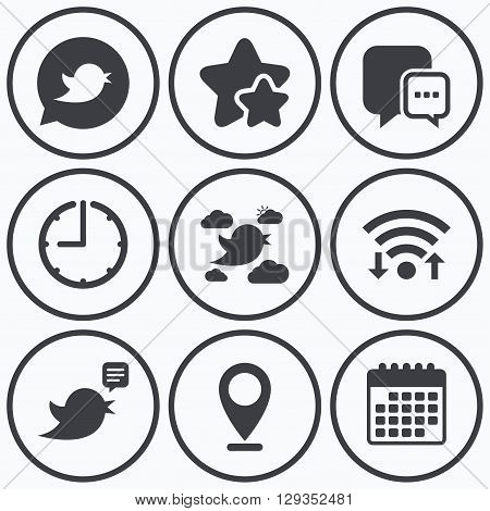 Clock, wifi and stars icons. Birds icons. Social media speech bubble. Short messages chat symbol. Calendar symbol.