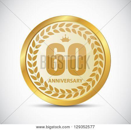 Template Logo 60 Years Anniversary Vector Illustration EPS10