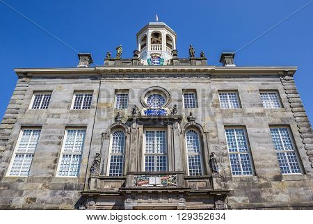 Facade of the town hall in historical village Enkhuizen Holland