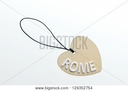 ROME word on cardboard tag on white background.Isolated