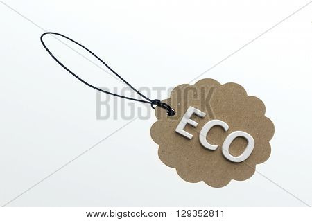 ECO word on cardboard label.Isolated