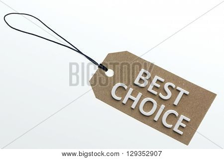Close-up of 3d rendering best choice words on paper cardboard.Isolated