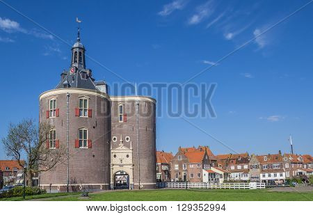 City gate Drommedaris in the historical center of Enkhuizen Netherlands