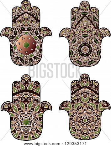 Set of four hamsot in dark burgundy and brown colors with round ornament on a white background