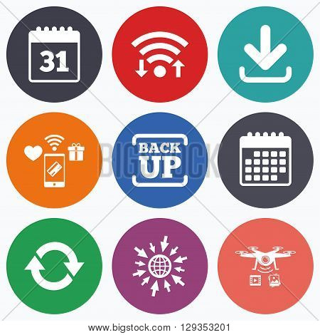 Wifi, mobile payments and drones icons. Download and Backup data icons. Calendar and rotation arrows sign symbols. Calendar symbol.