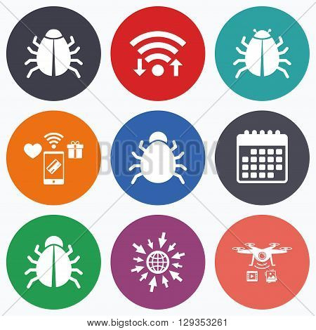 Wifi, mobile payments and drones icons. Bugs vaccination icons. Virus software error sign symbols. Calendar symbol.