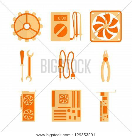 This icons set includes basic tools and hardware for computer repair