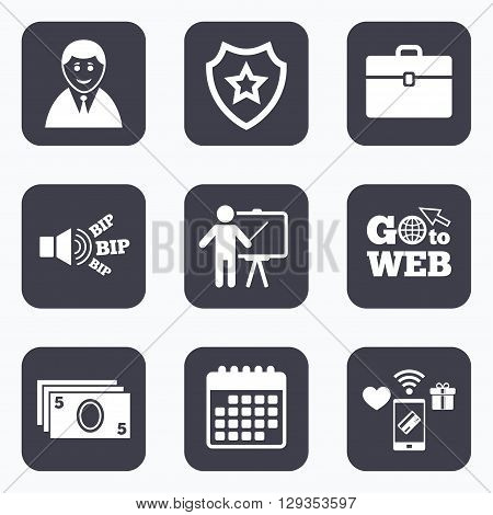 Mobile payments, wifi and calendar icons. Businessman icons. Human silhouette and cash money signs. Case and presentation symbols. Go to web symbol.