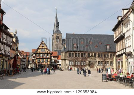 Quedlinburg, Germany - April 09, 2016: The heart of Quedlinburg in Saxony-Anhalt with the Town Hall in the background.