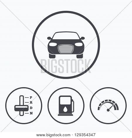 Transport icons. Car tachometer and automatic transmission symbols. Petrol or Gas station sign. Icons in circles.