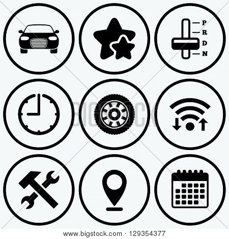 Clock, wifi and stars icons. Transport icons. Car tachometer and automatic transmission symbols. Repair service tool with wheel sign. Calendar symbol.