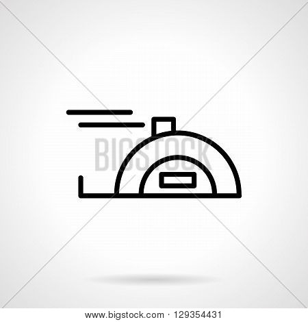 Measuring tape. Device for measurement in construction, carpentry, repairs. Measurement of length and distance. Simple black line vector icon. Single element for web design, mobile app.