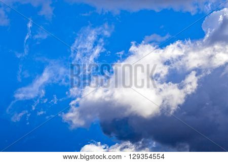 Blue sky view with the cumulus clouds