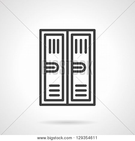 Two metal lockers with keyhole. Equipment and furniture for storage, locker rooms, sports gym and school. Simple black line vector icon. Single element for web design, mobile app.