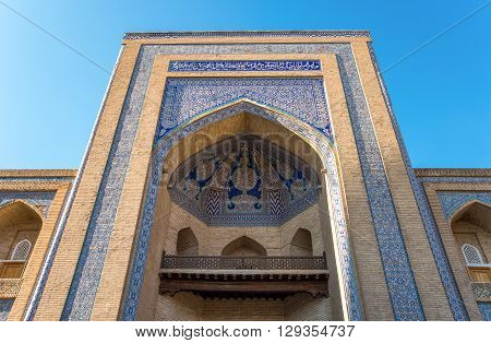 Uzbekistan Khiva the great entry portal of the Muhammad Amin Khan Madrassah