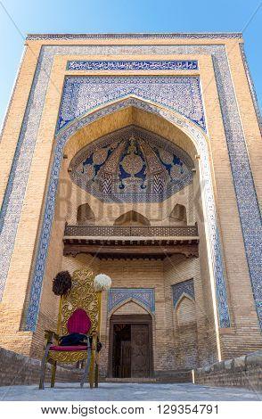 Khiva Uzbekistan - Aprilr 15 2014: The great entry portal of the Muhammad Amin Khan Madrassah