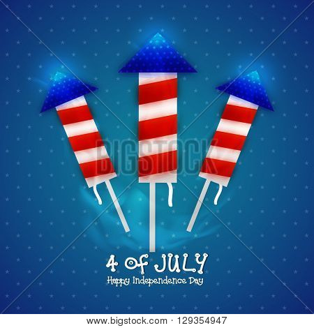 Glossy firecrackers (Rockets) in American Flag colors on shiny blue background for 4th of July, American Independence Day celebration.