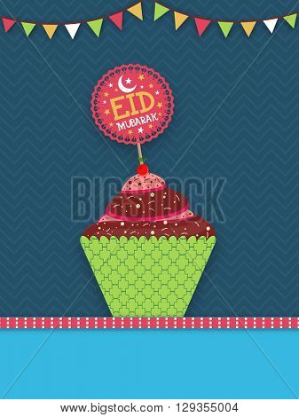 Sweet Cupcake for Eid Mubarak celebration, Elegant Pamphlet, Banner or Flyer design for Muslim Community Festival celebration.
