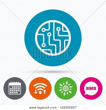 Wifi, Sms and calendar icons. Circuit board sign icon. Technology scheme circle symbol. Go to web globe.