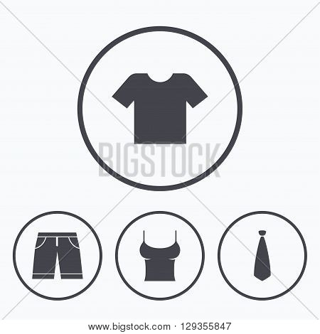 Clothes icons. T-shirt and bermuda shorts signs. Business tie symbol. Icons in circles.