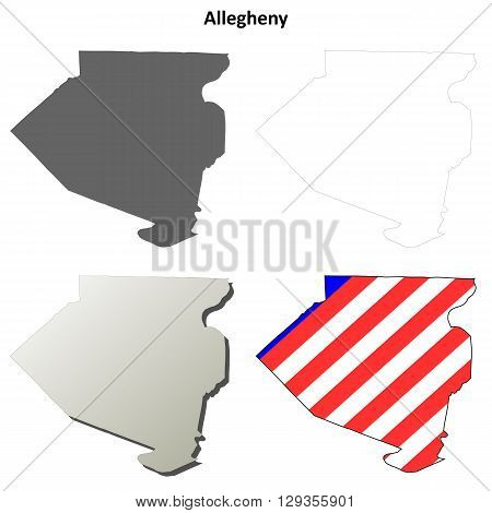 Allegheny County, Pennsylvania blank outline map set