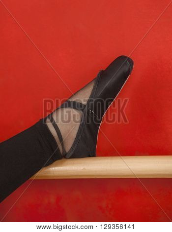 Ballerina's Leg On Barre Against Red Wall