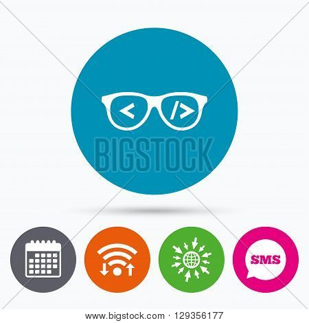 Wifi, Sms and calendar icons. Coder sign icon. Programmer symbol. Glasses icon. Go to web globe.