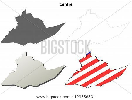 Centre County, Pennsylvania blank outline map set