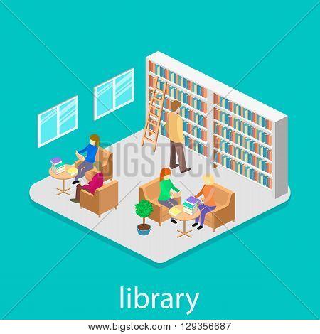 Isometric Interior Of Library