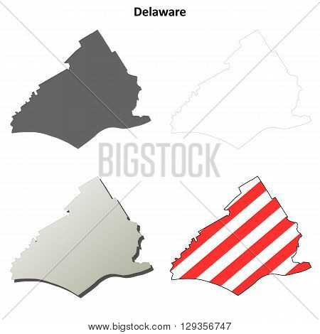 Delaware County, Pennsylvania blank outline map set