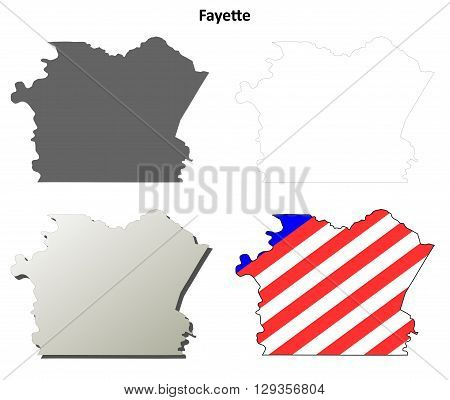 Fayette County, Pennsylvania blank outline map set