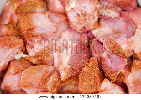 meat chopped and prepared for barbecue with spices