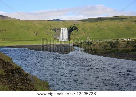 The Skogafoss Waterfall in Iceland. Northern Europe