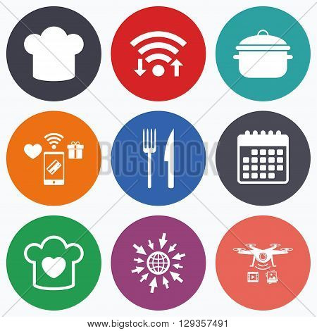 Wifi, mobile payments and drones icons. Chief hat and cooking pan icons. Fork and knife signs. Boil or stew food symbols. Calendar symbol.