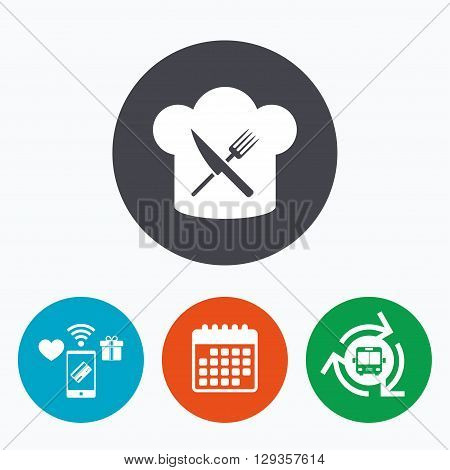 Chef hat sign icon. Cooking symbol. Cooks hat with fork and knife. Mobile payments, calendar and wifi icons. Bus shuttle.