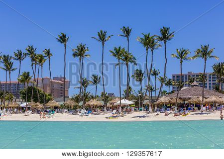 Palm Beach at Aruba. View from sea side