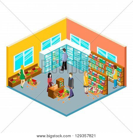Isometric Interior Of Grocery Store. Shopping Mall Flat 3D  Isometric  Concept Web Vector Illustrati