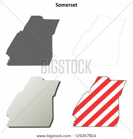 Somerset County, Pennsylvania blank outline map set