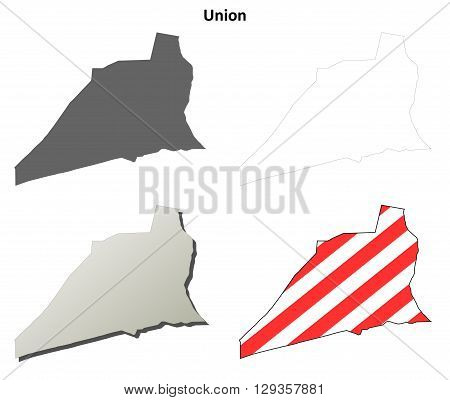 Union County, Pennsylvania blank outline map set