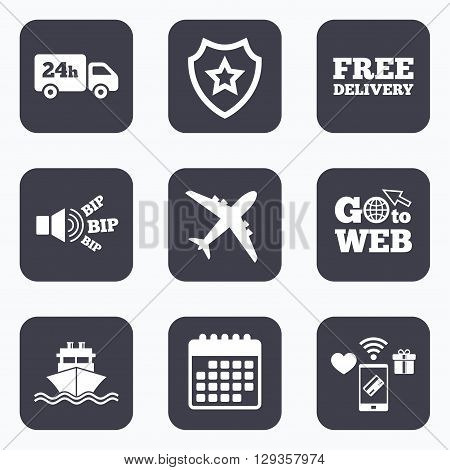 Mobile payments, wifi and calendar icons. Cargo truck and shipping icons. Shipping and free delivery signs. Transport symbols. 24h service. Go to web symbol.