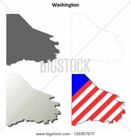 Washington County, Pennsylvania blank outline map set