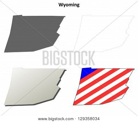 Wyoming County, Pennsylvania blank outline map set