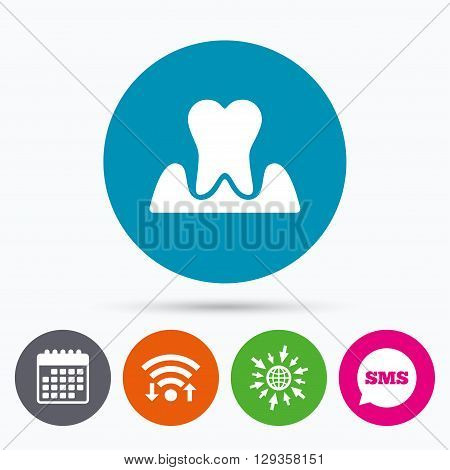 Wifi, Sms and calendar icons. Parodontosis tooth icon. Gingivitis sign. Inflammation of gums symbol. Go to web globe.