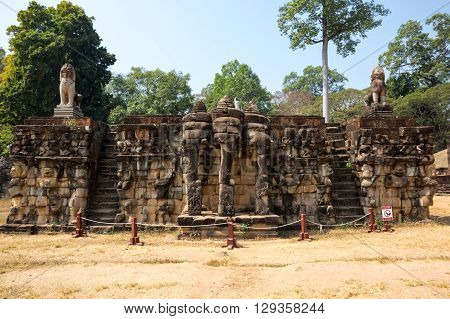 Terrace of Elephants at Angkor Thom complex Siem Reap Cambodia