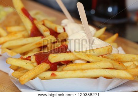 French Fries with Mayonnaise and Ketchup. Germany